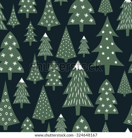 Christmas pattern - varied Xmas trees and snowflakes. Simple seamless Happy New Year background. Vector design for winter holidays on dark blue background. Child drawing style trees. - stock vector