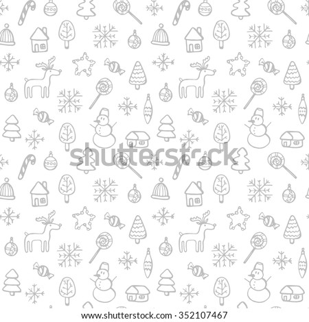 Christmas pattern - varied Xmas trees and snowflakes. Vector design for winter holidays on white background. Child drawing style trees.Background in the Scandinavian style. - stock vector