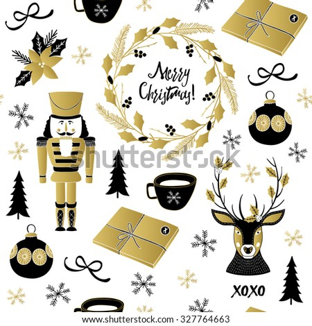 Christmas pattern with deer, tree, nutcracker, toys, gifts, cup, snow and flowers. Vector illustration. Template for Greeting Scrapbooking, Congratulations, Invitations. - stock vector