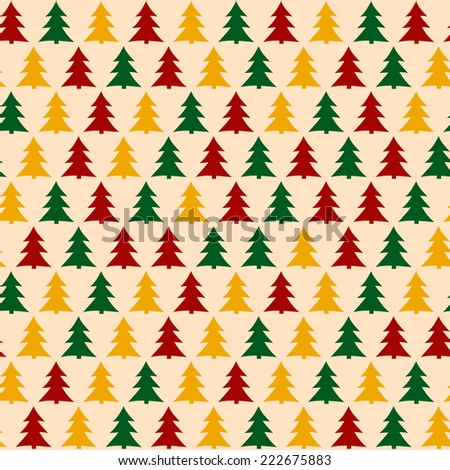 Christmas Pattern with Pines. Seamless Background for New Year Party. Vector Illustration - stock vector