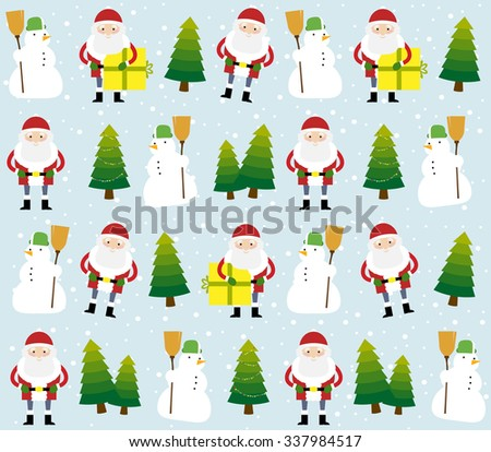 Christmas pattern with Santa Claus, snowman and Christmas trees on the blue background with the snowflakes. - stock vector