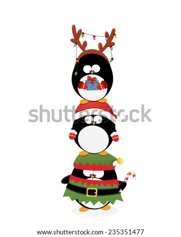 Christmas Penguins Piled Up - stock vector