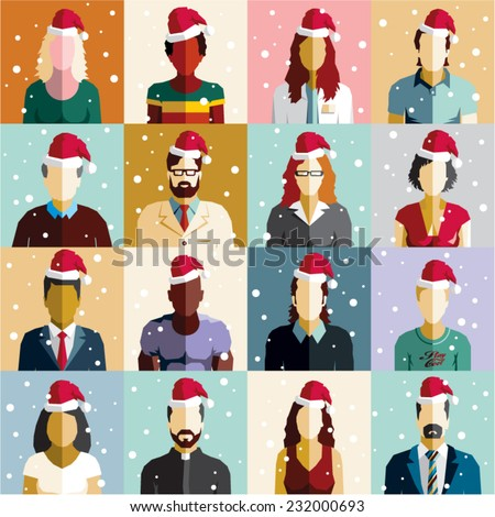 Christmas people seamless background. Christmas card. Santa hat vector. - stock vector