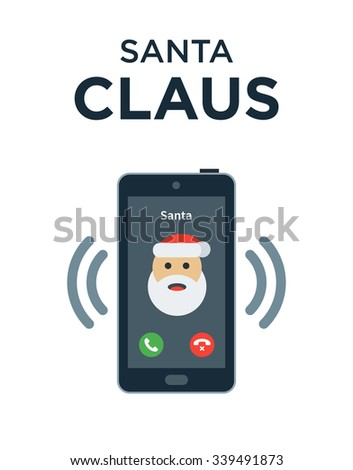 Christmas phone call from Santa Claus. Vector Christmas illustration - stock vector