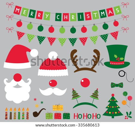 Christmas photo booth and decoration vector set  - stock vector