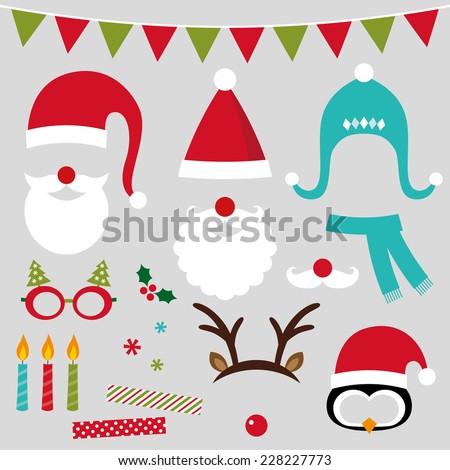 Christmas photo booth and scrapbooking vector set (Santa, deer, penguin, xmas decoration) - stock vector