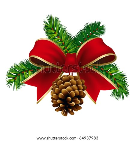 Christmas Pine Twigs with Red Ribbon and Pine Cone. Vector Illustration - stock vector