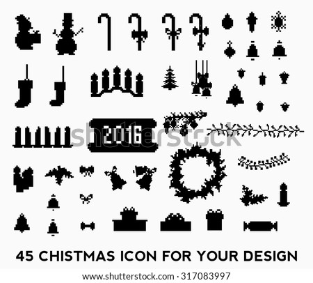 Christmas pixel style icons set. Vector illustration - stock vector