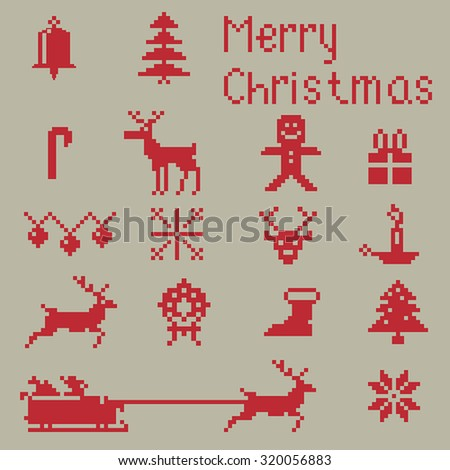 Christmas pixel style icons set, winter pattern pixels. - stock vector