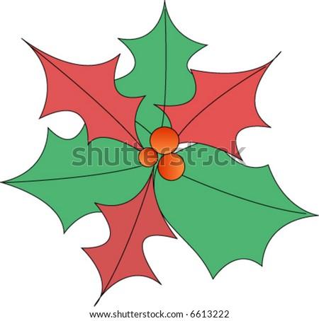christmas poinsettia - stock vector