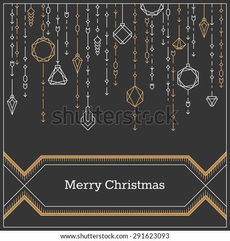 Christmas postcard, art deco linear style new year background, banner with decorative xmas balls.  - stock vector