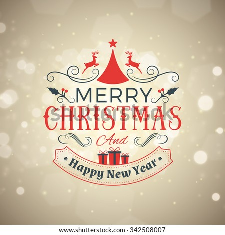 Christmas Postcard Decoration with Vintage Typographic Badge. Merry Christmas and Happy New Year. Vector Illustration - stock vector