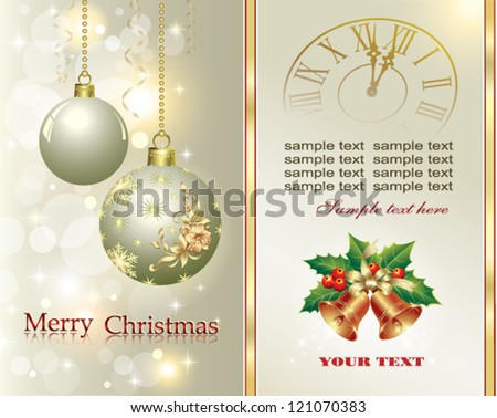 Christmas postcard with holiday balls, hanging from a gold wire 2013 - stock vector