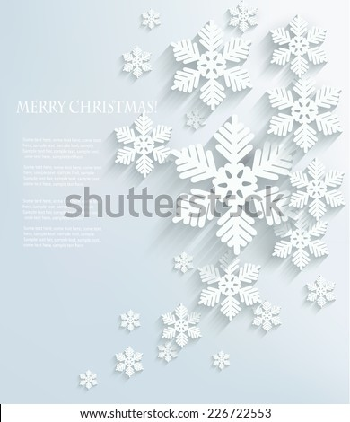 Christmas postcard with snowflakes. Vector. - stock vector
