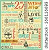 Christmas Poster - Typography Christmas poster and greeting card, with doodle drawings and sketchy illustrations, including Santa Clause, snowman and Christmas stockings - stock vector