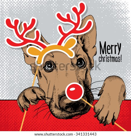 Christmas poster with the portrait of a dog German Shepherd with the photo booth props. Vector illustration. - stock vector