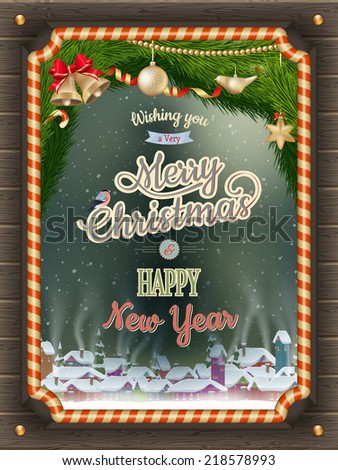 Christmas Poster with village. EPS 10 vector file included - stock vector