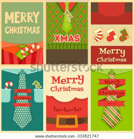 Christmas Posters Set. Christmas Clothes and Accessories. Vector Illustration. - stock vector
