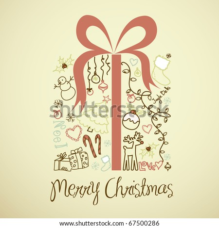 Christmas present box made from christmas doodles - stock vector