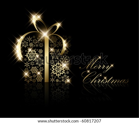 Christmas present box made from golden snowflakes on black (vector) - stock vector