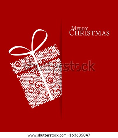 Christmas present on a red background - stock vector