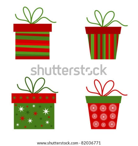Christmas presents collection. Vector illustration - stock vector