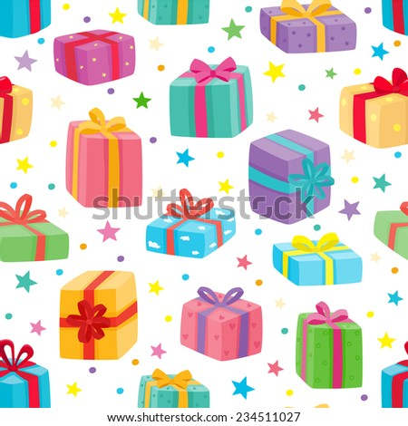 Christmas presents seamless pattern. Vector illustration of cartoon gifts isolated on white - stock vector