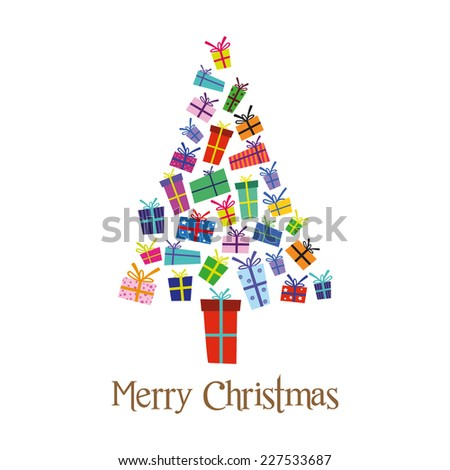 Christmas presents tree, vector illustration - stock vector
