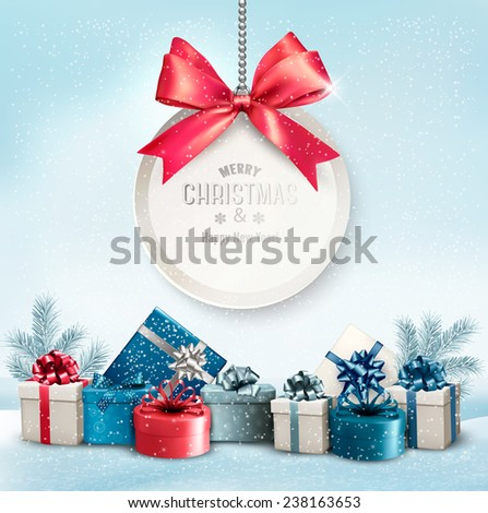 Christmas presents with a label and a ribbon. Vector. - stock vector