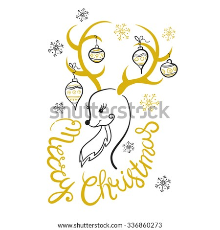 Christmas Print ables. Merry Christmas and New Year Greeting card - stock vector