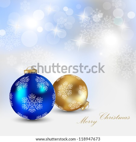 Christmas realistic baubles on shiny background-vector - stock vector