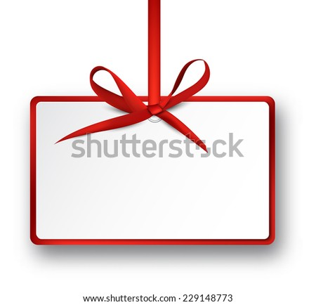 Christmas rectangle gift card with red satin bow. Vector illustration. - stock vector