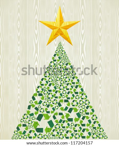 Christmas recycle pine tree over wooden seamless pattern background. Vector illustration layered for easy manipulation and custom coloring. - stock vector
