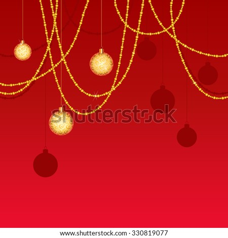 Christmas. Red and gold background - stock vector