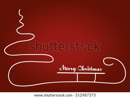 Christmas red background with Christmas tree and trendy sledge. - stock vector