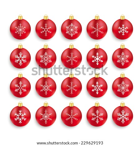 Christmas red baubles set with snowflakes on the white background. Eps 10 vector file. - stock vector