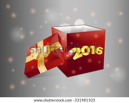 Christmas Red Gift Box with 2016 Over Glowing Background - stock vector