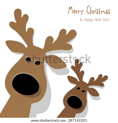 Christmas Reindeer brown on a white background - stock vector