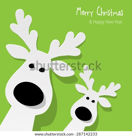 Christmas Reindeer on a green background - stock vector