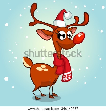 Christmas reindeer Rudolph  red nose in Santa Claus hat vector illustration on snowy background - stock vector