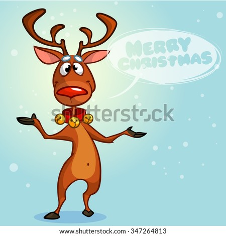 Christmas reindeer Rudolph red nose with speech bubble wishing merry Christmas. Vector character on snowy background - stock vector