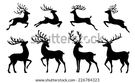 christmas reindeer silhouettes on the white background - stock vector