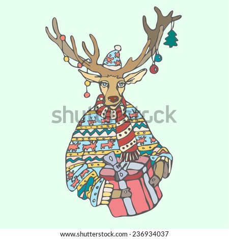 Christmas reindeer with gift and a sweater in the New Year. On the horns hanging Christmas decorations. Festive vector with a deer. - stock vector