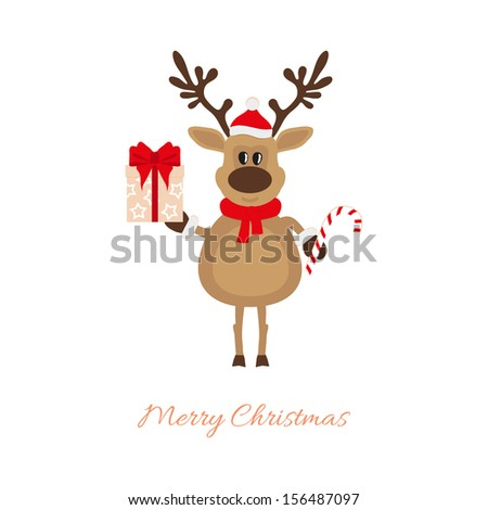 Christmas reindeer with gift and caramel cane - stock vector