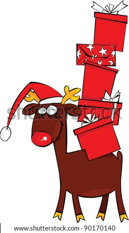 Christmas Reindeer with Santa Hat and huge pile of gift - stock vector