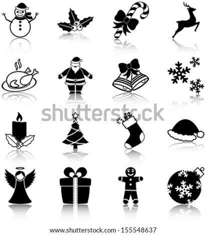Christmas related icons/ silhouettes. - stock vector
