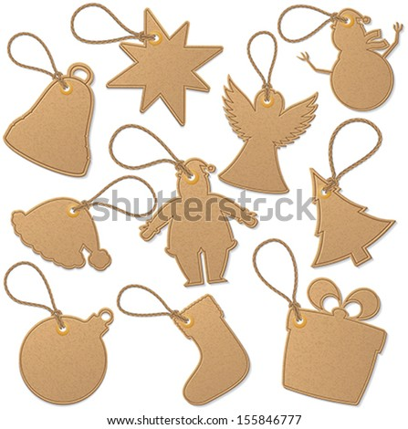 Christmas related tags. - stock vector