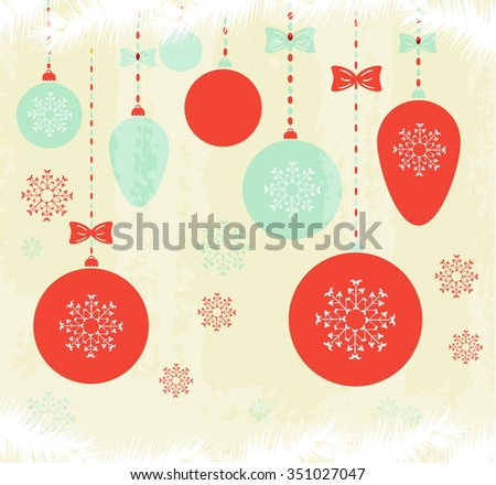 Christmas, retro poster, background, backdrop, card with simple hanging decorations - balls with bows, beautiful blue and red snowflakes, white conifer twigs, text Merry Christmas - stock vector