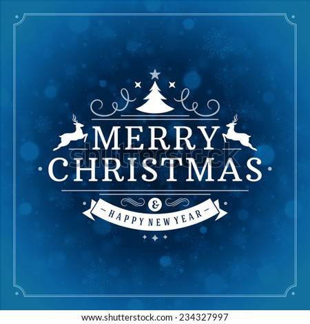 Christmas retro typographic and light with snowflakes. Merry Christmas holidays wish greeting card and vintage ornament decoration. Happy new year message. Vector background Eps 10. - stock vector