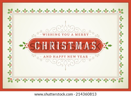 Christmas retro typographic and ornament decoration. Merry Christmas holidays wish greeting card and vintage background. Happy new year message. Vector illustration Eps 10. - stock vector